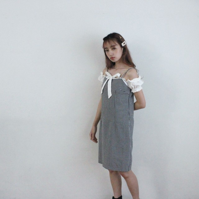 gingham check cami one piece (S19-04046K)
