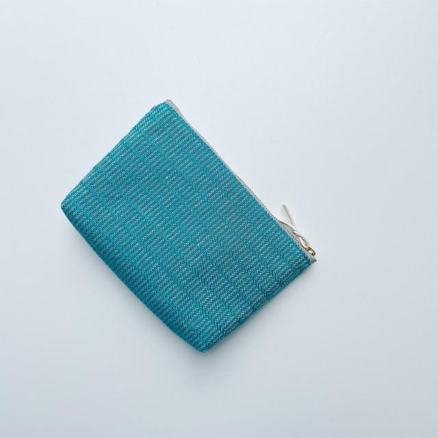 手織りメイクポーチ (Make up bag  Turquoise blue Alinea)