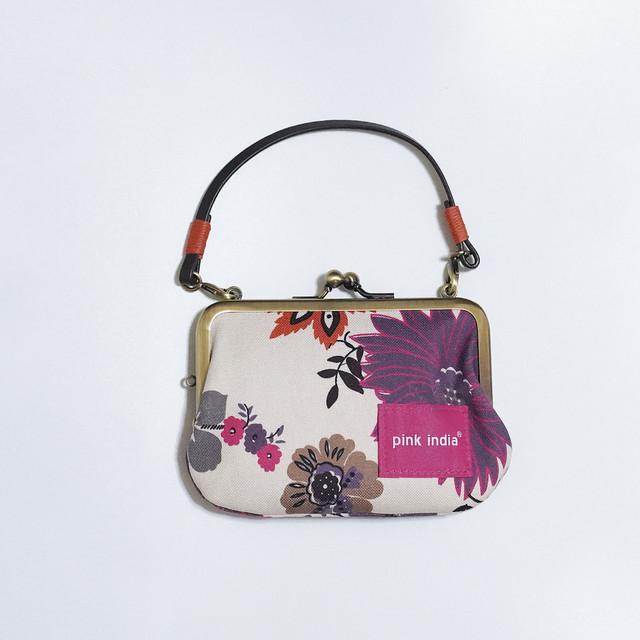 【秀和 x pink india】北欧デザイン 持ち手付手提げがまぐち財布 | tree of life-b