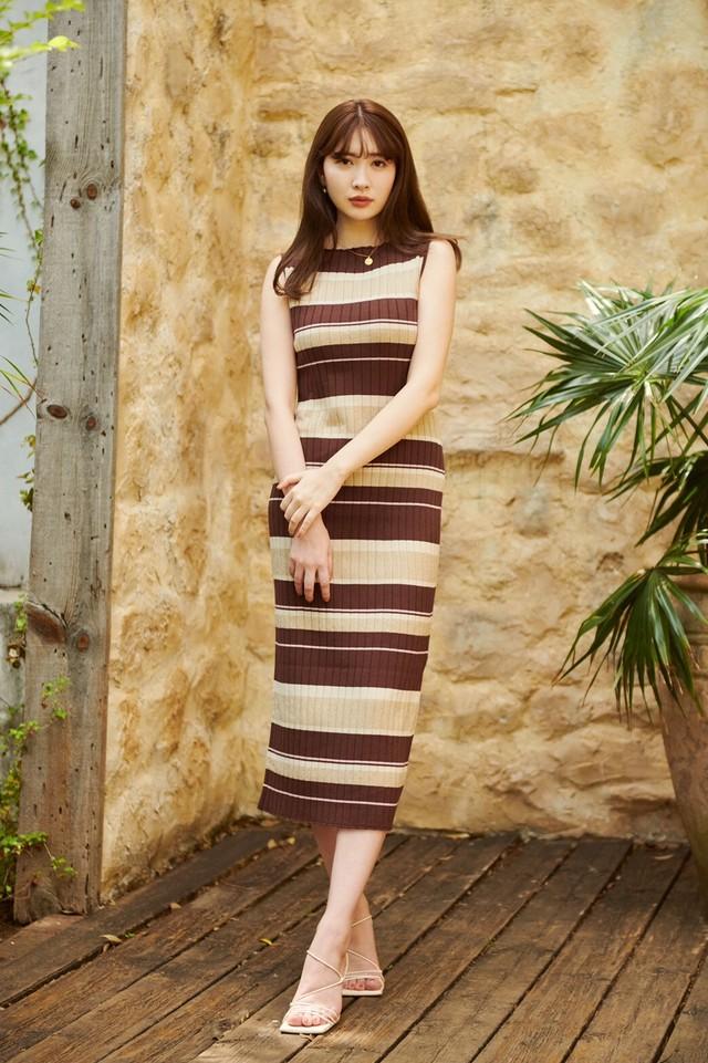 Cotton Striped Ribbed Knit Dress