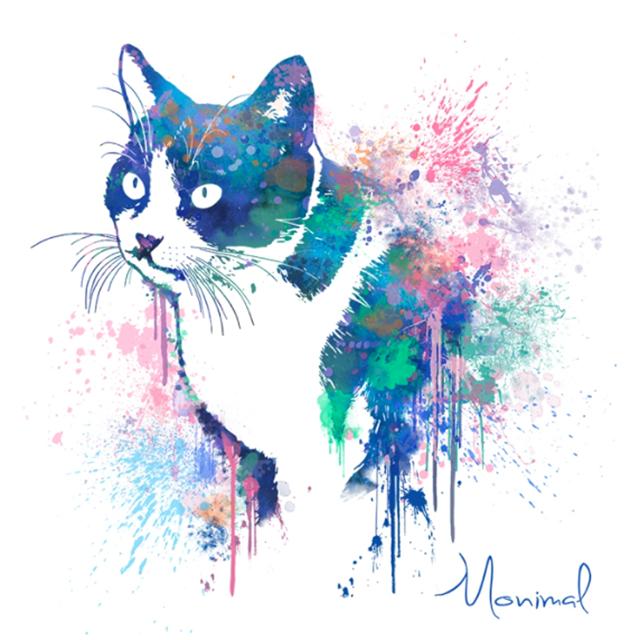 ペイントポップアートイラスト 犬猫 ペットうちの子似顔絵 おしゃれな犬猫 ペットの似顔絵 オリジナルペットグッズ モニマル