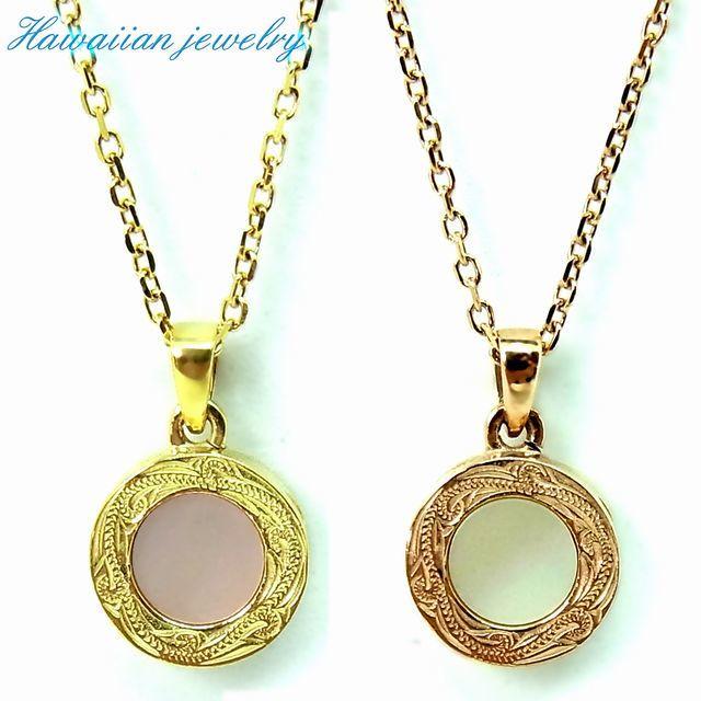ハワイアンジュエリー ネックレス メダル シェル イエローゴールド ステンレススチール インスタ (gps81033)
