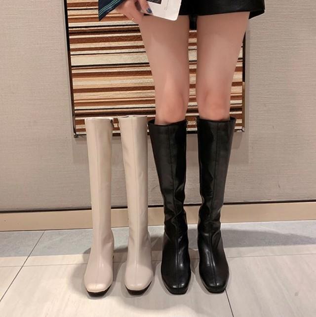 【翌日発送/2点限定】【浪花ほのか着用】One color basic long boots LD0270