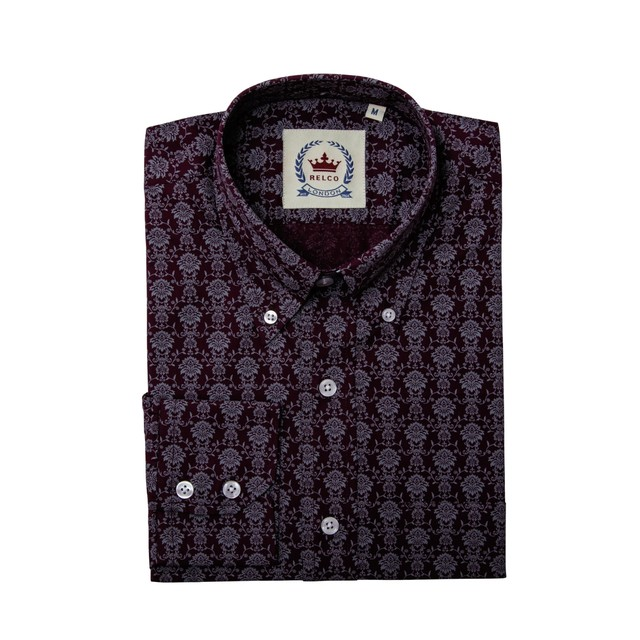 Relco London | Button Down Floral Shirt - Burgundy