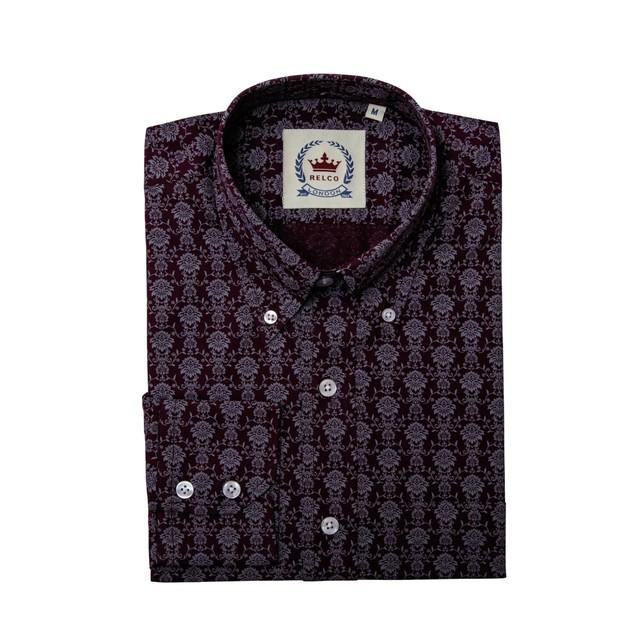 Relco London | Button Down Floral Shirt - Burgundy