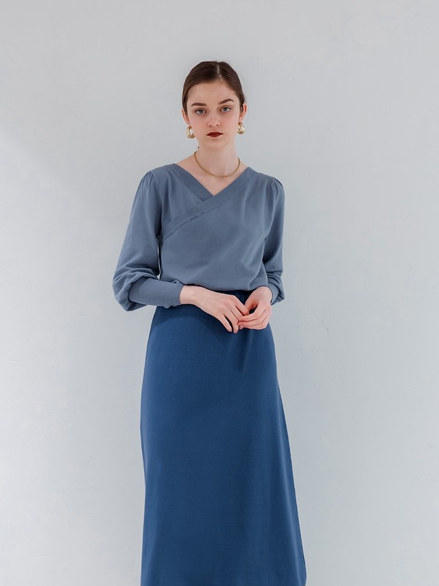 2way bicolor knit one-piece(blue×blue)