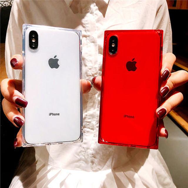 iPhoneケース シンプル スクエア クリアケース XR XSMAX 韓国