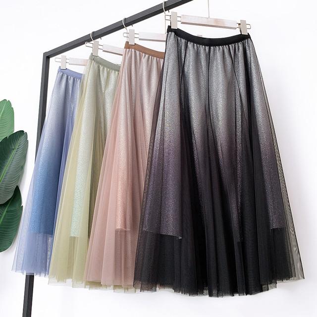 夜空のスカート グリッター グラデーション チュール マーメイド - Pisces(全4色)