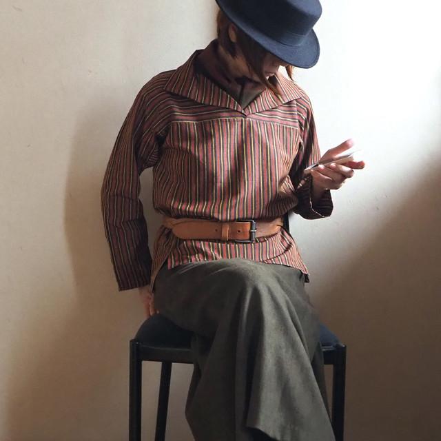 柿色ストライプの襟付きかぶりブラウス【受注制作】-紬着物(絹・古布)から