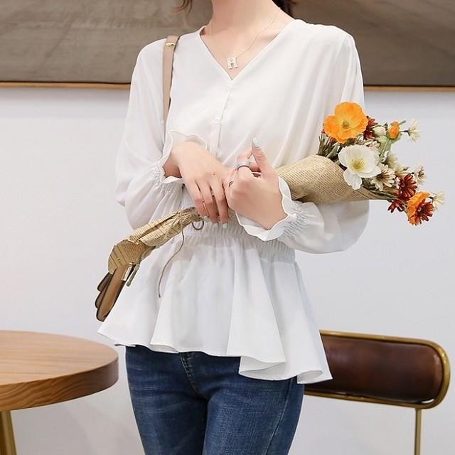 【送料無料】P6146 ブラウス レディース トップス 長袖 キャンディースリーブ Vネック ペプラム 可愛い フェミニン 韓国ファッション
