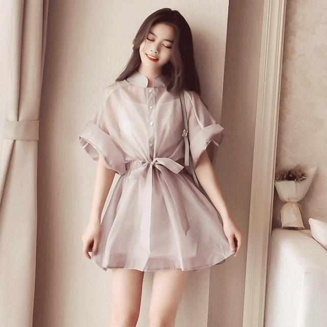 【dress】膝上半袖スタンドネックスウィートリボン飾りカジュアルワンピース