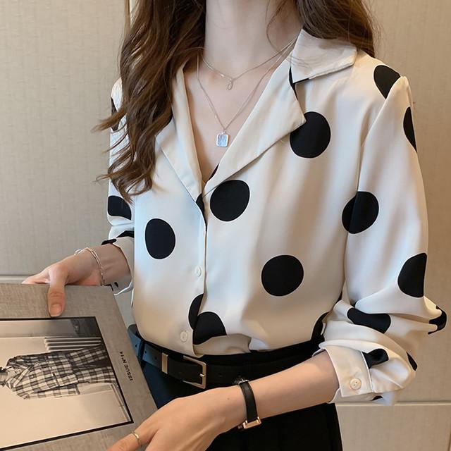 【韓国レディースファッション】 6629 大人 ガーリー シフォン ドット シャツ ゆったり 送料無料