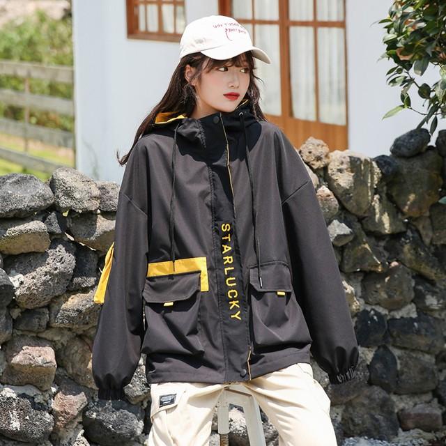 【即納】秋冬新作 ウインドブレーカー 原宿系ファッション 韓国 マウンテンパーカー 大きいサイズ アウター ブルゾン ジャンパー オーバーサイズ