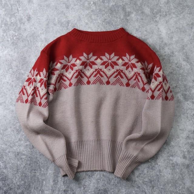 60's Jersild Jacquard Sweater Snow pattern size about 38 60年代 ジャガードセーター 雪柄 サイズ38程度 クリスマス A668