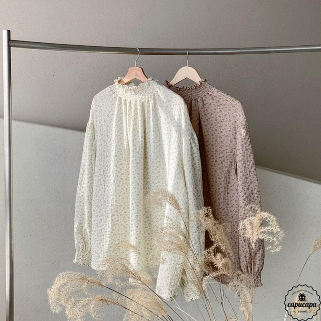 «sold out» shirring blouse 2colors シャーリングブラウス ママサイズ