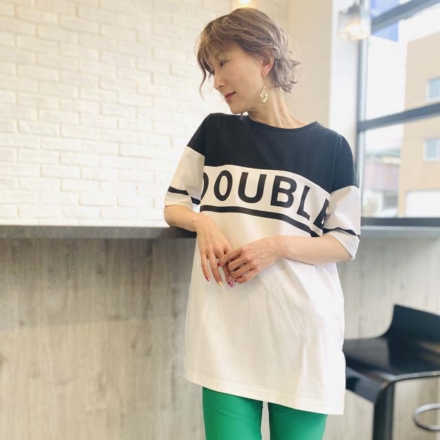 DOUBLE STANDARD CLOTHING  ESSENTIAL (ダブルスタンダードクロージング  エッセンシャル) 配色ロゴビックTシャツ 2508040212