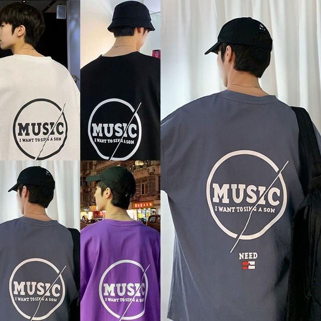 ユニセックス 半袖 Tシャツ メンズ レディース MUSIC 英字 バックプリント オーバーサイズ 大きいサイズ ルーズ ストリート TBN-614578167160