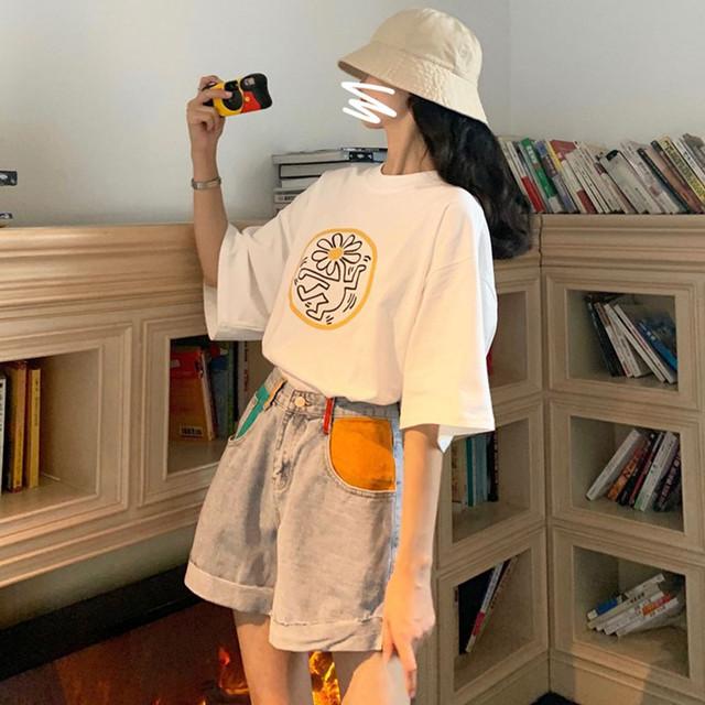 【bottoms】ファッション合わせやすい配色切り替えワイドデニムショートパンツ