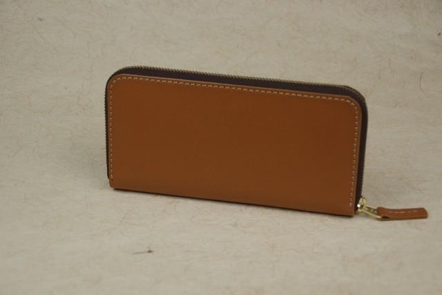 ラウンドファスナー キャメル色 牛革 ブラウンファスナー leather wallet