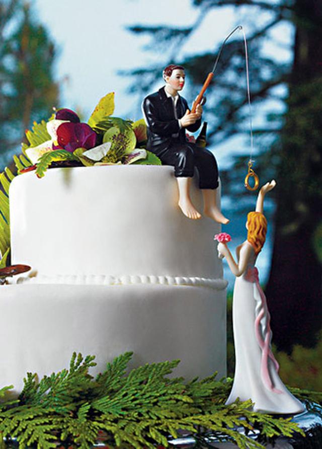 ケーキトッパー【ロマンチック編】愛を釣る新郎と新婦 (MJ9014/MJ7096)