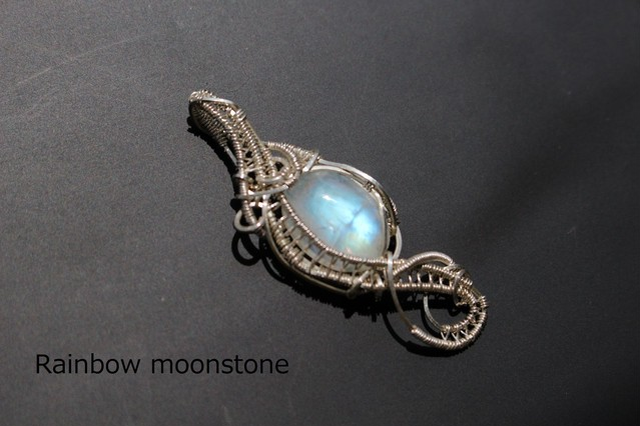 Rainbowmoonstone silver925 wirewrapping pendant
