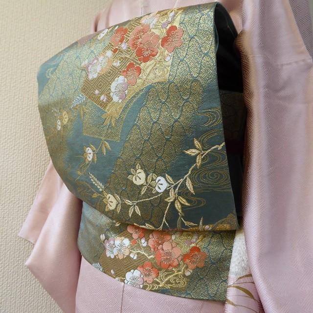 正絹 深い緑の袋帯