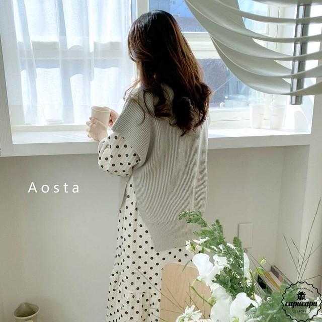 «予約»«mom» mochi knit vestt 3colors リブニットベスト ママサイズ