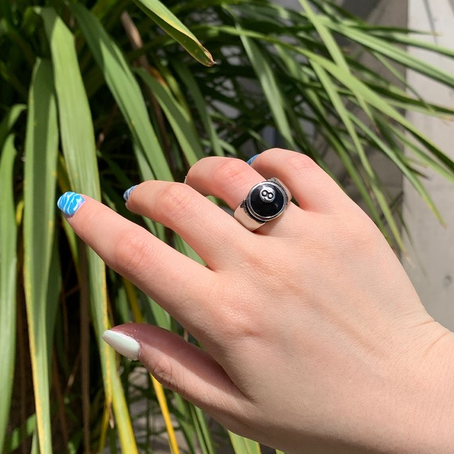 【Cat & Parfum】Eight Ball Silver Ring