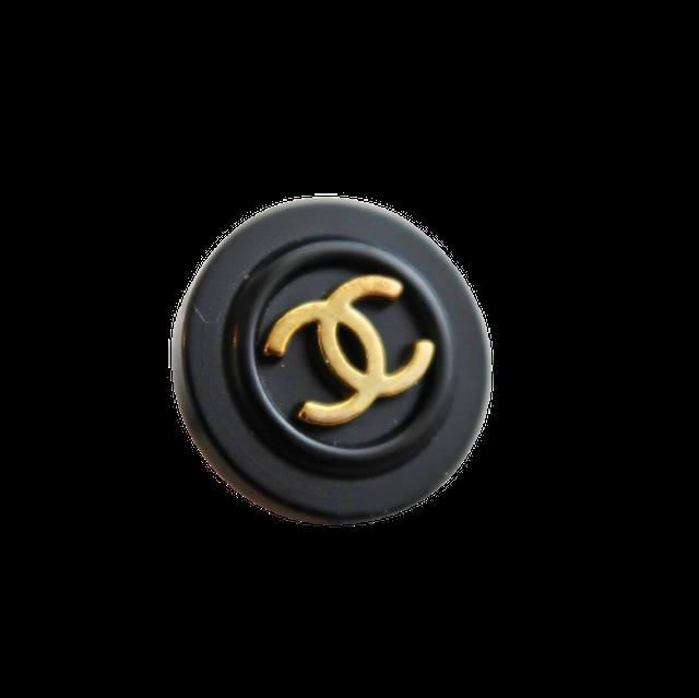 【VINTAGE CHANEL BUTTON】ブラック縁取り ゴールド ココマークボタン 18mm C-21033