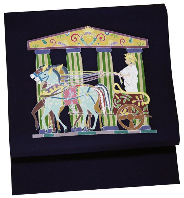仕立て上がり品 染名古屋帯  「ギリシャ馬車」