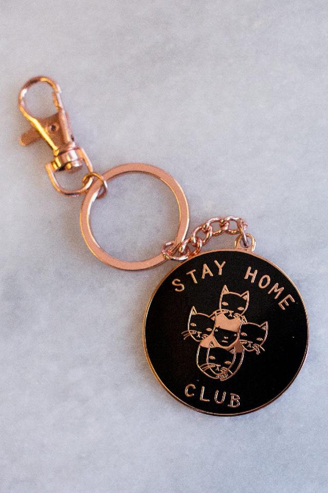 Stay Home Club keychain - Black & Gold