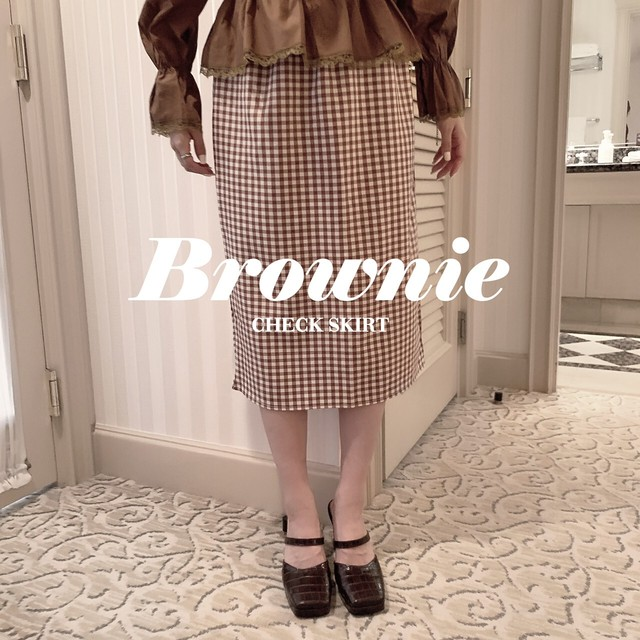 【meltie】brownie check skirt