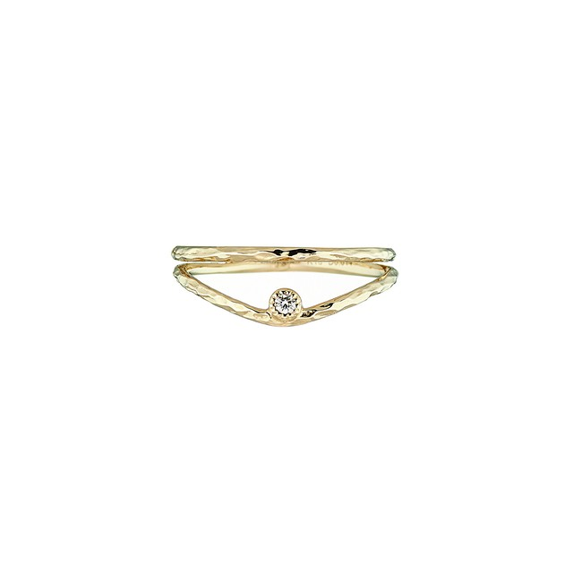 K18YG Double Ring with a Diamond