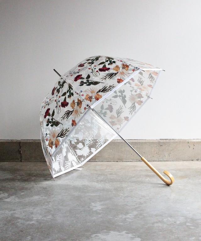 刺繍花柄プリントビニール傘(WHT)