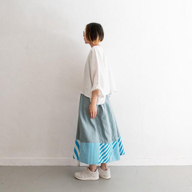 Rainbowfam x hanelca ギャザースカート(スモークブルー x 雨/空)