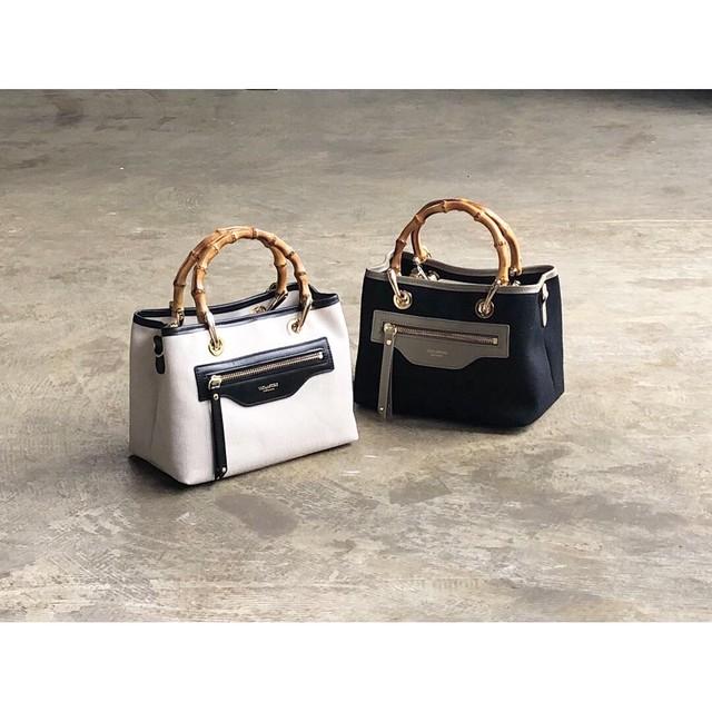 VIOLAd'ORO(ヴィオラドーロ) 『BRUNO』 Cotton Canvas ×Leather 2way Handbag