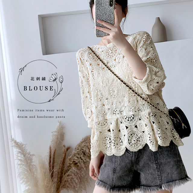 透かし編み トップス レディース5分袖 シースルーカットソー かぎ編み ブラウス 花刺繍 即納