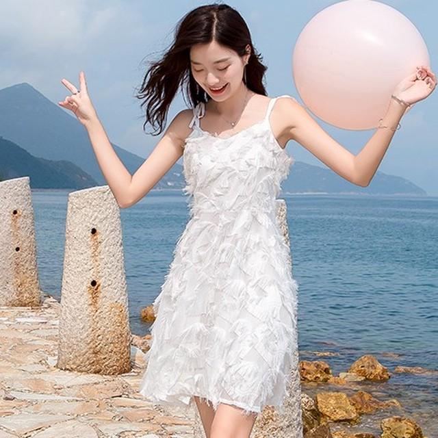 【dress】スウィートキャミソール切り替え膝上Aラインデートワンピース