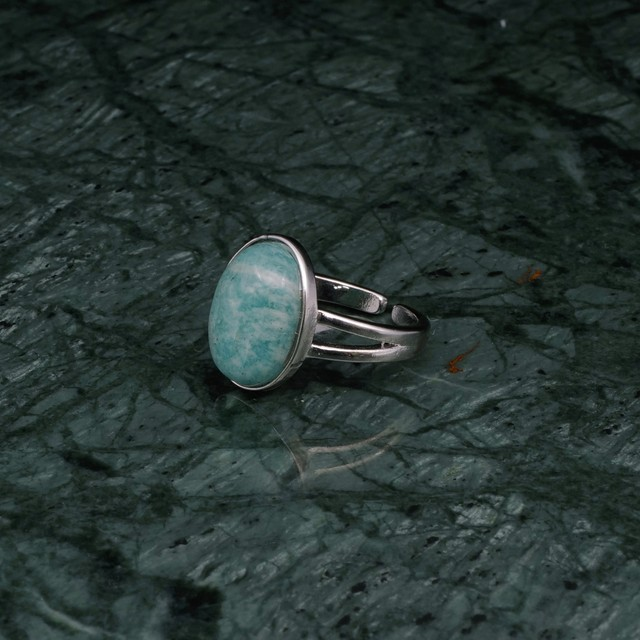 OVAL BIG STONE RING SILVER 005
