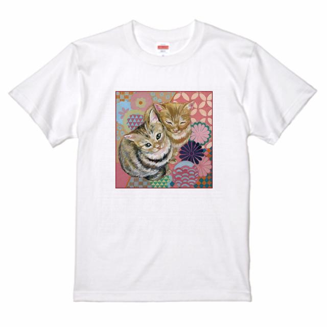 『日本画×花ネコ』 プレミアムTシャツ ホワイト