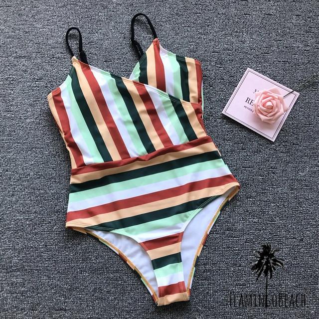 【FlamingoBeach】stripe monokini モノキニ 48226