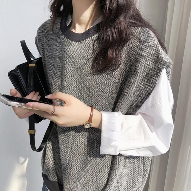 ランキング2位 Loose Knit Vest Sweater  T585