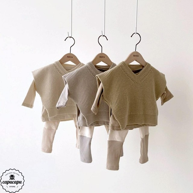 «sold out» mochi knit vest 3colors リブニットベスト