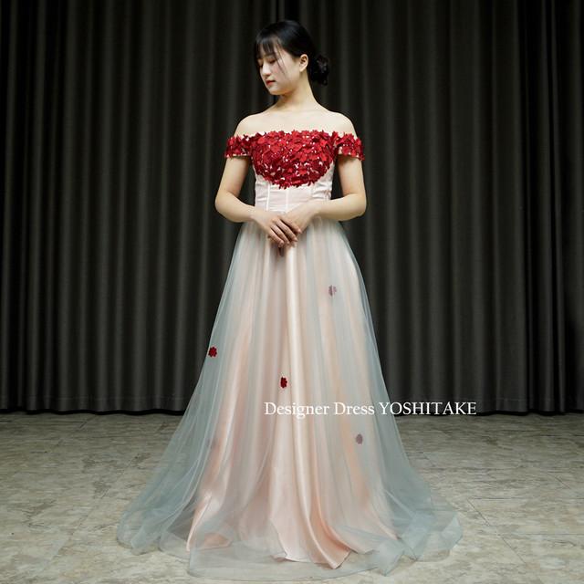 お花もハンドメイドの完全オリジナルなカジュアルスレンダードレス/結婚パーティー