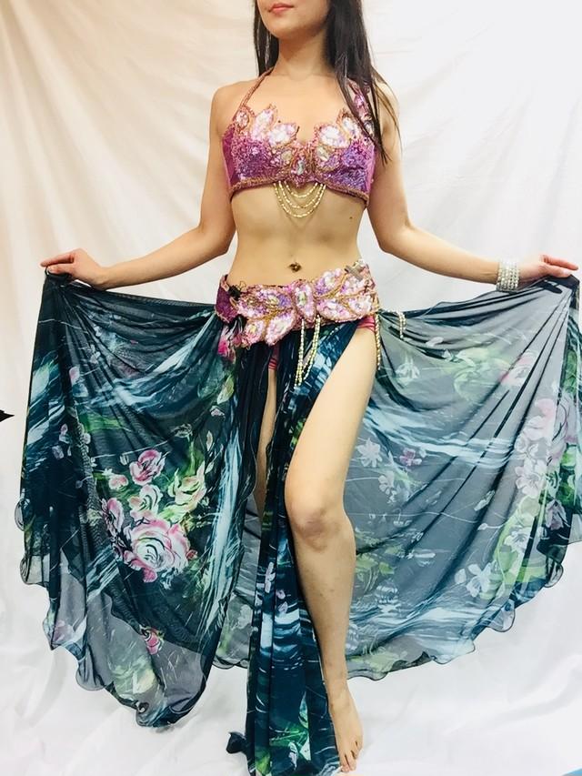 エジプト製ベリーダンス衣装 水色バラ柄