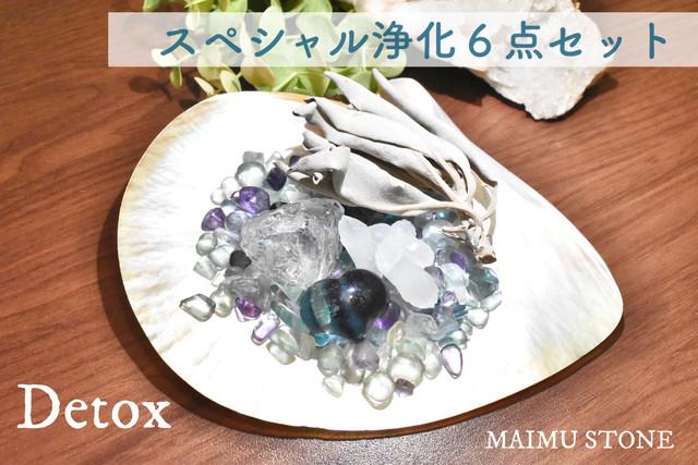 スペシャル浄化6点セット【Detox】白蝶貝 フローライトさざれ石 原石 セージ j-d2