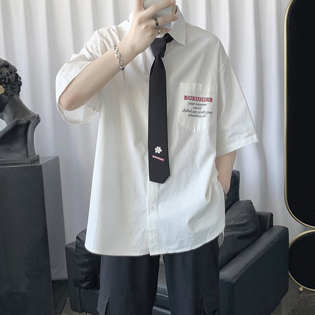 制服デザイン・ネクタイ付き半袖Tシャツ