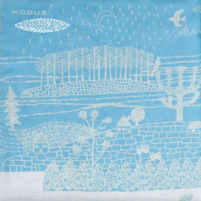 ひびのこづえ ハンカチ ある一日 / ブルー 刺繍入り 2枚合わせ 52x52cm KH12-03