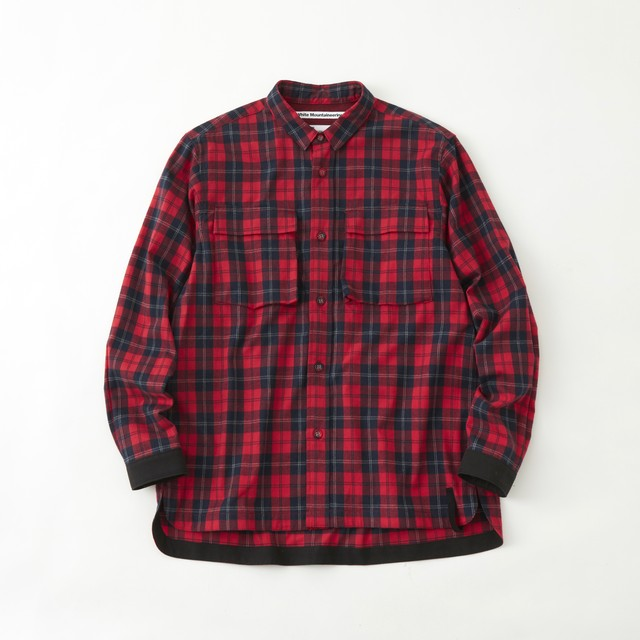 FLANNEL CHECK MILITARY SHIRT- RED