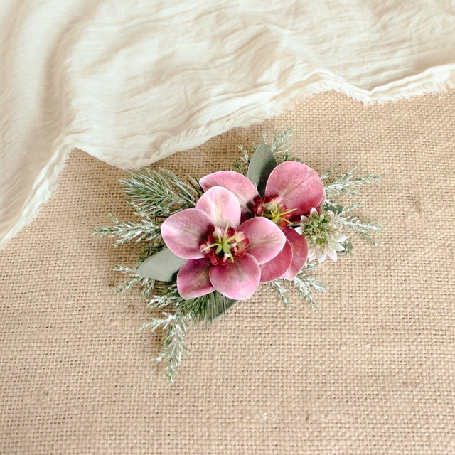 "Hair ornament for ""Reddish purple Bouquet"""